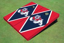 Fresno State Bulldog Navy Blue And Red Matching Diamond Cornhole Boards