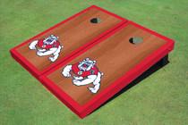 Fresno State Bulldog Red Rosewood Matching Border Borders Cornhole Boards