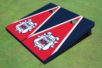 Fresno State Bulldog 'Dog Face' Red And Navy Blue Matching Triangle Cornhole Boards