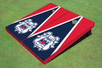 Fresno State Bulldog 'Dog Face' Navy Blue And Red Matching Triangle Cornhole Boards