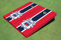 Fresno State Bulldog 'Dog Face' Navy Blue And Red Matching Long Stripe Cornhole Boards
