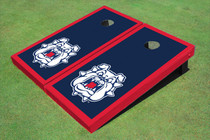 Fresno State Bulldog 'Dog Face' Navy Blue Matching Border Cornhole Boards