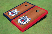 Fresno State Bulldog 'Dog Face' Rosewood Alternating Border Cornhole Boards