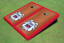 Fresno State Bulldog 'Dog Face' Red Rosewood Matching Border Borders Cornhole Boards