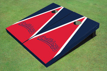 Fresno State Bulldog 'Word Mark' Red And Navy Blue Matching Triangle Cornhole Boards