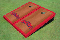 Fresno State Bulldog 'Word Mark' Red Rosewood Matching Border Borders Cornhole Boards