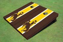 University Of Wyoming Cowboys Gold And Brown Matching Long Stripe Cornhole Boards