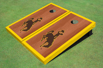 University Of Wyoming Cowboys Gold Rosewood Matching Borders Cornhole Boards