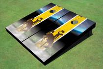 University Of Wyoming Cowboys Field Long Strip Matching Gold Themed Cornhole Boards