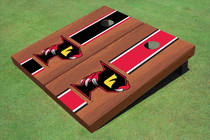 "Orlando Predators ""P"" Rosewood Red And Black Altnerating Long Stripe Cornhole Boards"