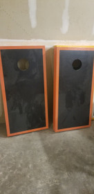 Refurbished - Black And Orange Matching Border Cornhole Boards