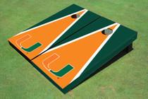 University Of Miami Orange And Green Matching Triangle Cornhole Boards