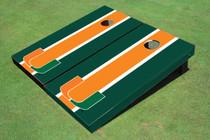 University Of Miami Orange And Green Matching Long Stripe Cornhole Boards