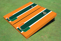 University Of Miami Green And Orange Matching Long Stripe Cornhole Boards