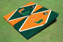 University Of Miami Alternating Diamond Cornhole Boards