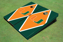 University Of Miami Orange And Green Matching Diamond Cornhole Boards