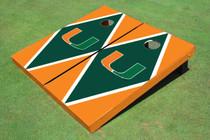 University Of Miami Green And Orange Matching Diamond Cornhole Boards