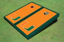 University Of Miami Orange Matching Border Cornhole Boards