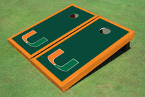 University Of Miami Green Matching Border Cornhole Boards