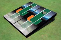 University Of Miami Field Long Strip Matching Green Themed Cornhole Boards Boards