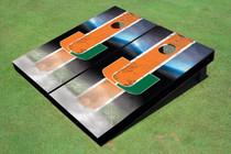 University Of Miami Field Long Strip Matching Orange Themed Cornhole Boards