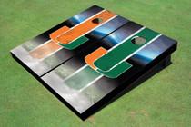 University Of Miami Field Long Strip Alternating Themed Cornhole Boards