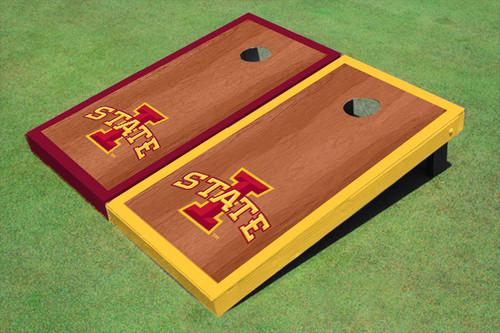 """Iowa State University """"I"""" Rosewood Alternating Border Cornhole Boards"""