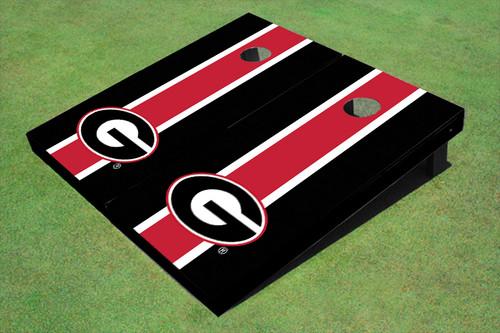 "University Of Georgia ""G"" Red And Black Matching Long Stripe Cornhole Boards"