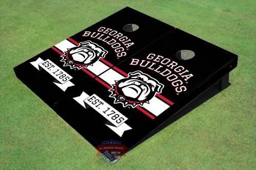 University Of Georgia Bulldog Mark Solid Black EST Themed Cornhole Boards