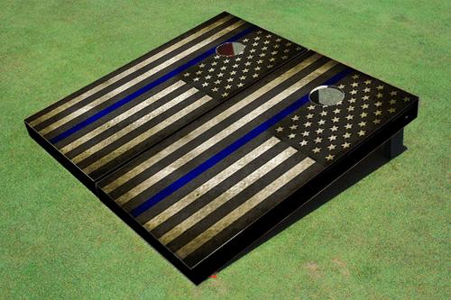 Custom Black And White American Flag With Blue Stripe Cornhole Board set