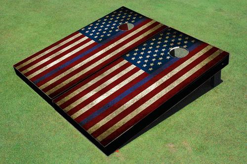 "Custom American Flag With Stars On Left And ""Thin Blue Line"" Cornhole Board set"