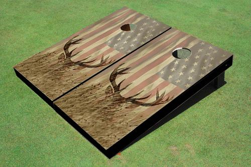 Custom American Flag With Deer Custom Cornhole Board