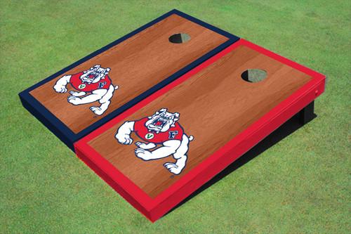 Fresno State Bulldog Rosewood Alternating Border Cornhole Boards