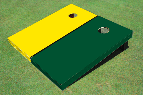 Painted Yellow And Navy Solid Custom Cornhole Board
