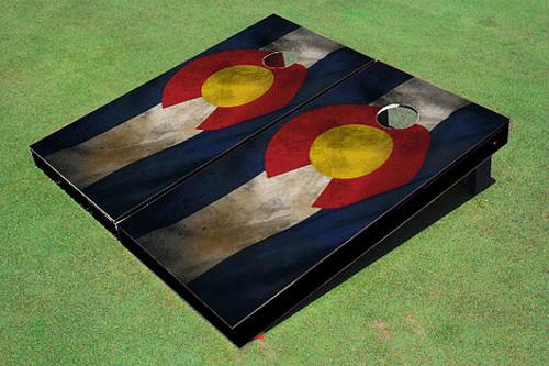 Rustic Colorado State Flag Custom Cornhole Board