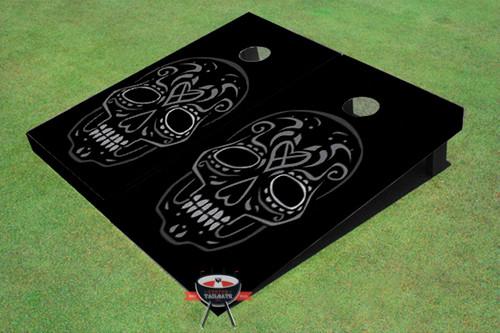 Black Tiki Skull Custom Cornhole Board