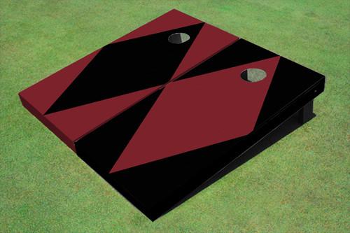 Maroon And Black Alternating Diamond No Stripe Custom Cornhole Board