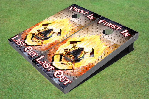 """Custom Fire Fighter """"First In Last Out"""" THemed Graphic Cornhole Board Set"""