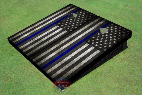 "Custom Black And White American Flag ""Thin Blue Line"" Cornhole Board set"