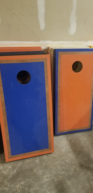 Refurbished - Orange And Blue Alternating Rosewood Border Cornhole Boards