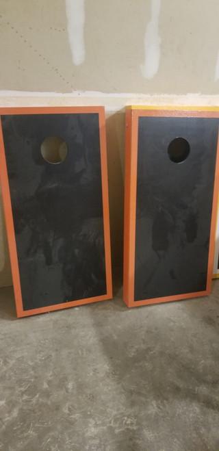 Refurbished - Black And Orange Matching Border Cornhole Boards