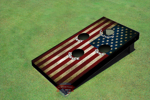 Single American Flag 4 Hole Cornhole Board set
