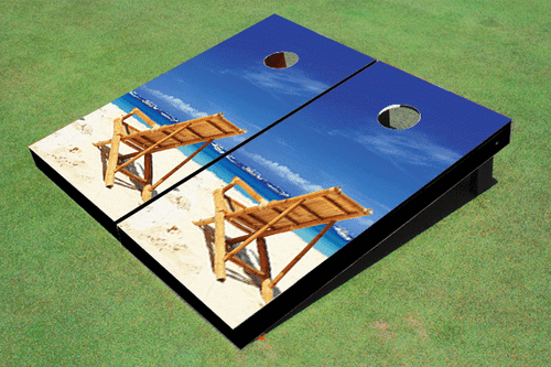 Beach Chairs Facing Left Custom Cornhole Board