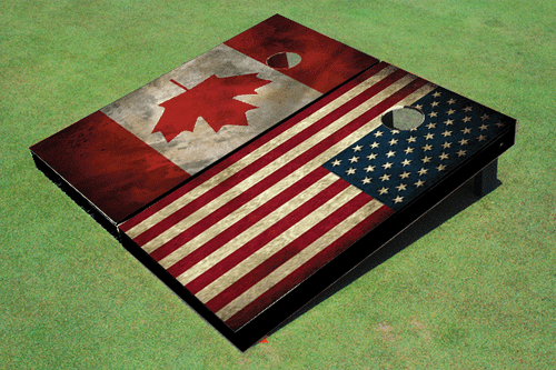 American Flag & Canadian Flag Custom Cornhole Board
