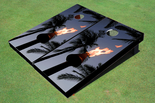 Tiki Torch Custom Cornhole Board