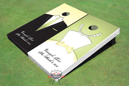 Tux and Dress Wedding Custom Cornhole Board