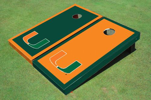 University Of Miami Alternating Border Cornhole Boards