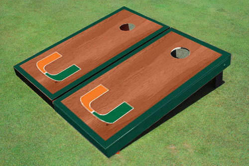 University Of Miami Green Rosewood Matching Borders Cornhole Boards