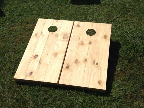 Unstained / Unfinished Wood Slat Custom Cornhole Board