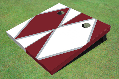 White And Maroon Alternating Diamond Custom Cornhole Board